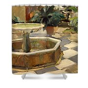 Patio Fountain In Seville Shower Curtain