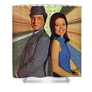 Patrick Macnee And Diana Rigg, The Avengers Shower Curtain