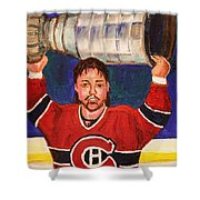 Patrick Roy Wins The Stanley Cup Shower Curtain