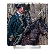 Patriot On Horse At Tower Park Battle Shower Curtain