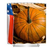 Patriotic American Pumpkin Shower Curtain