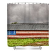 Patriotic Barn Shower Curtain
