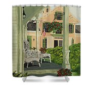 Patriotic Country Porch Shower Curtain
