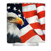 Patriotic Eagle And Flag Shower Curtain