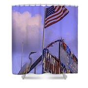 Patriotic Egret Shower Curtain