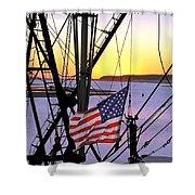 Patriotic Fisherman Shower Curtain