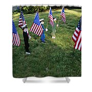 Patriotic Lawn Ornaments Represent Shower Curtain