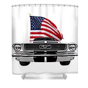 Patriotic Mustang On White Shower Curtain