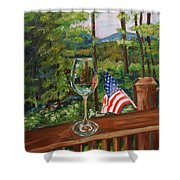 Star Spangled Wine - Fourth Of July - Blue Ridge Mountains Shower Curtain