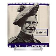 Patriotic World War 2 Poster Us Allies Canada Shower Curtain