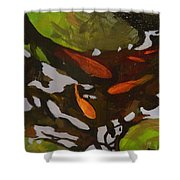 Patterns Of Green And Gold Shower Curtain