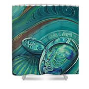 Paua Seabed By Reina Cottier Shower Curtain
