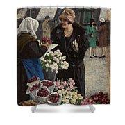 Paul Fischer, 1860-1934, Flower Market In Copenhagen Shower Curtain