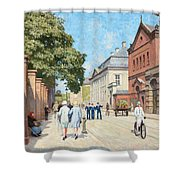 Paul Fischer, Sunny Street Scene, Bredgade, Copenhagen. Shower Curtain