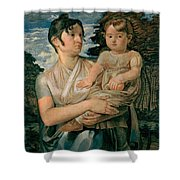 Pauline Runge With Her Two Year Old Son Shower Curtain