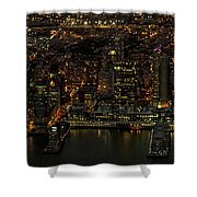 Paulus Hook, Jersey City Aerial Night View Shower Curtain