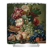Paulus Theodorus Van Brussel - Still Life Of Flowers And Fruit On A Stone Ledge, Shower Curtain