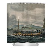 Pavel Petrovich Svinin, 1787 -1839, Steamboat Travel On The Hudson River Shower Curtain