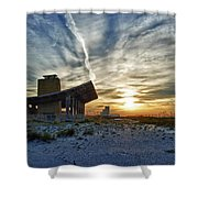 Pavillion And The Beach Shower Curtain by Michael Thomas