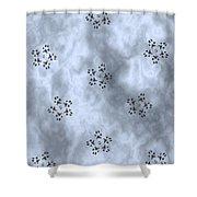 Paw Print Snowflake Stars - Blue/grey Shower Curtain