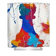 Pawn Chess Piece Paint Splatter Shower Curtain