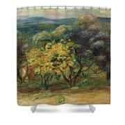 Paysage  Larbre Jaune Shower Curtain