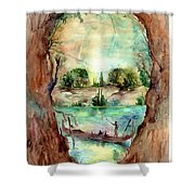 Paysage With A Boat Shower Curtain