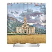 Payson Utah Lds Temple, Sunset View Of The Mountains And Grass Shower Curtain