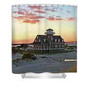Oregon Inlet Life Saving Station 2687 Pano Signed Shower Curtain