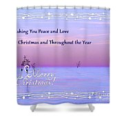 Peace And Love For Christmas Card Shower Curtain