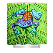 Peace Frog On A Leaf Shower Curtain