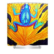 Peace Frog On Fall Leaf Shower Curtain