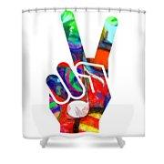 Peace Hippy Paint Hand Sign Shower Curtain
