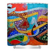 Peace Love And Hope Arabic Inspirational Calligraphy Shower Curtain by Riad Belhimer