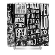 Peace, Love And Rock N Roll Shower Curtain