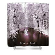 Peace On Earth With Text Shower Curtain