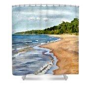 Peaceful Beach At Pier Cove Ll Shower Curtain