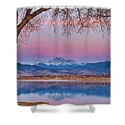 Peaceful Early Morning First Light Longs Peak View Shower Curtain
