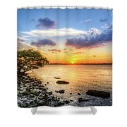 Peaceful Evening On The Waterway Shower Curtain