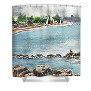 Peaceful Morning At The Harbor  Shower Curtain