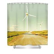 Peaceful Pastel Wind Farm Shower Curtain