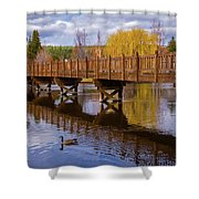 Peaceful Reflections At Drake Park Shower Curtain