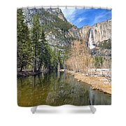 Peaceful Winter River Through Yosemite Valley Shower Curtain