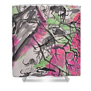 Peach Blossom And Water Buffalo Shower Curtain
