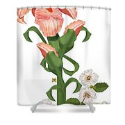 Peach Colored Iris Botanical Shower Curtain