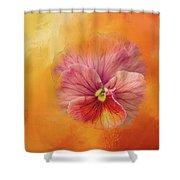 Peach Pansy Shower Curtain