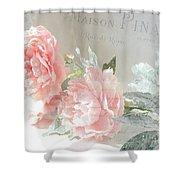Peach Peonies Impressionistic Peony Floral Prints - French Impressionistic Peach Peony Prints Shower Curtain
