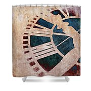 Peach Pink And Night Blue Clock Face Shower Curtain by Marianna Mills