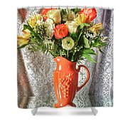 Peach Roses - Mini Shower Curtain