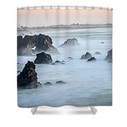 Peach Sky At Arched Rock Shower Curtain